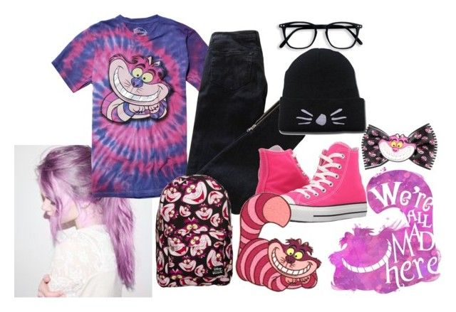 """""""Cheshire Cat"""" by bandsvansandsodacans ❤ liked on Polyvore featuring Disney, Pierre Balmain and Converse"""