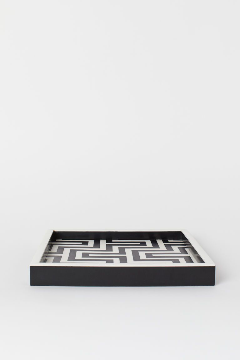 Synthetic Resin Tray Black White Patterned Home All H M Gb Bricka H M Svart