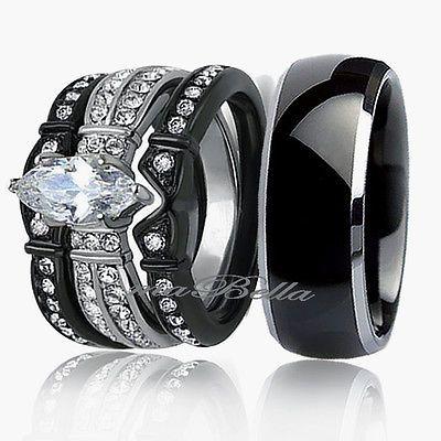 Hot 4 Pc His Titanium Her Black Stainless Steel Wedding Engagement Ring Band Set Black Wedding Ring Sets Black Wedding Rings Titanium Wedding Rings