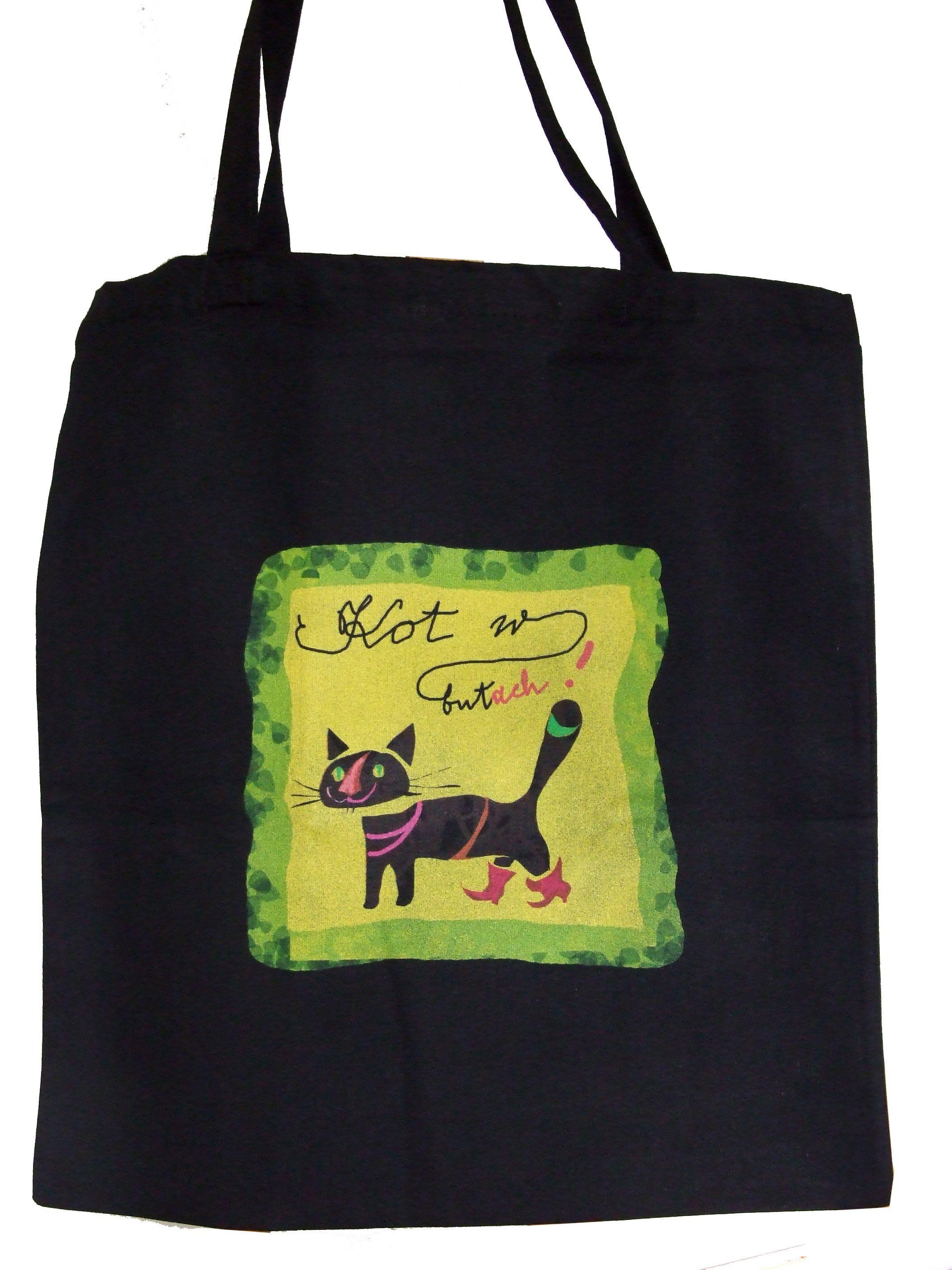 Bawelniana Torba Na Zakupy Z Nadrukiem Autorskiej Grafiki Kot W Butach
