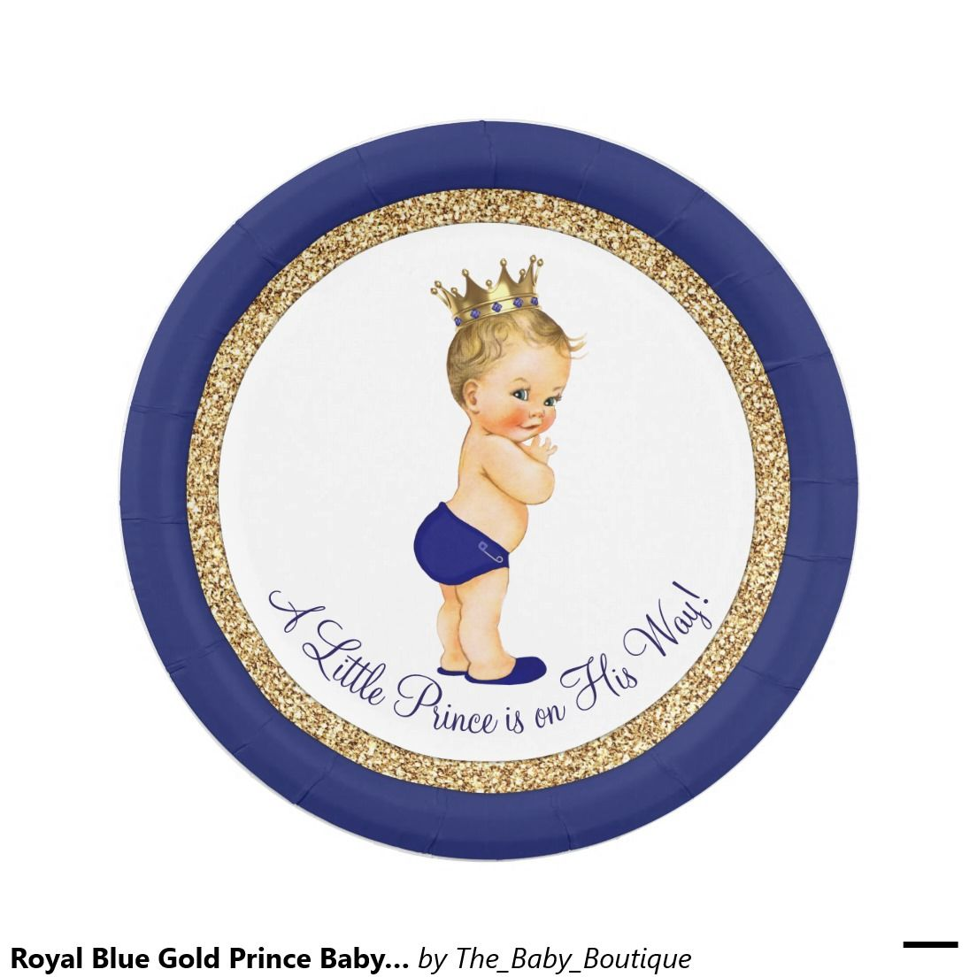Royal Blue Gold Prince Baby Shower Paper Plate