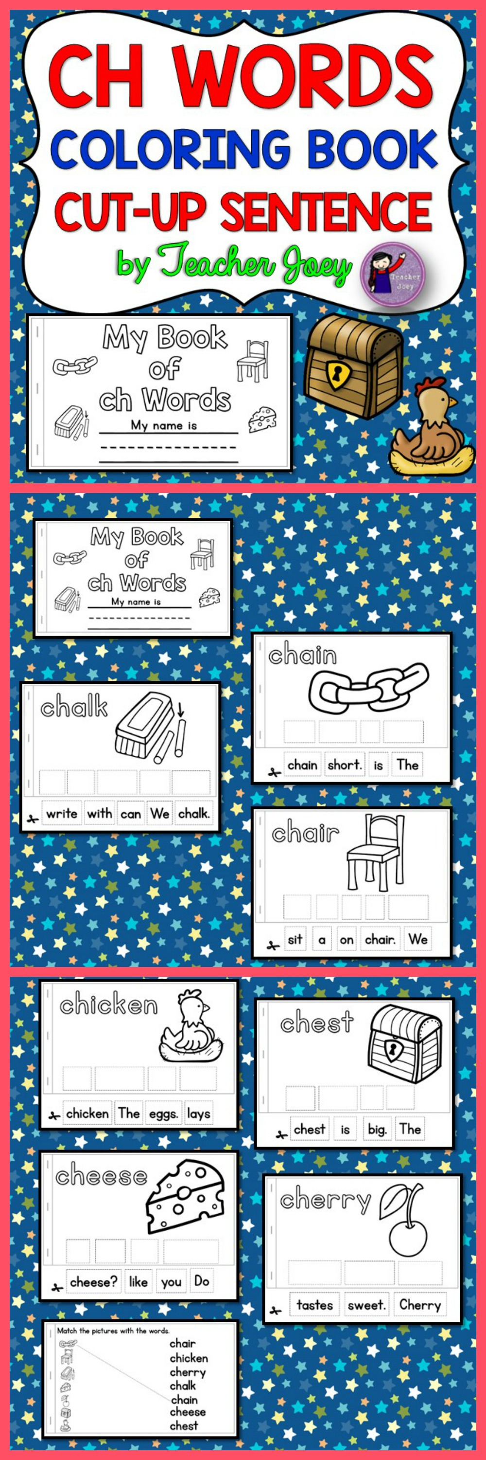 Ch Coloring Sheets | phonics | Pinterest | Simple sentences ...