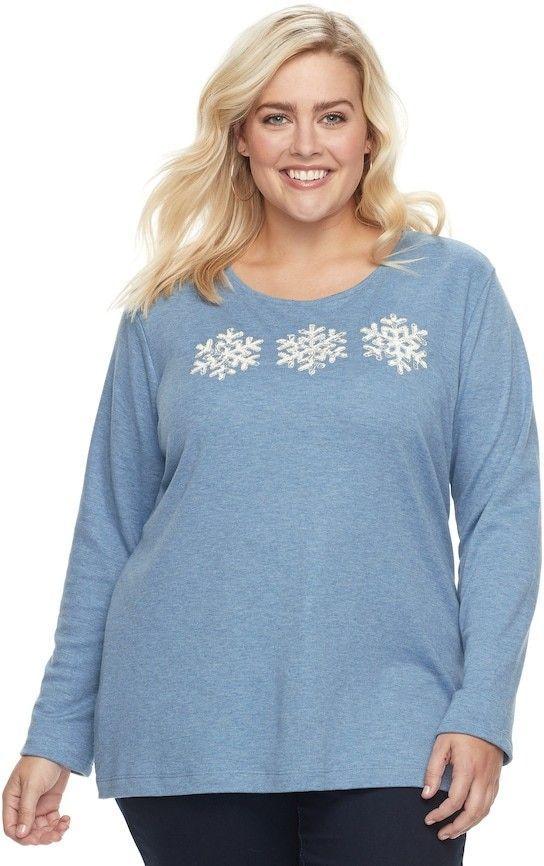 f36e46c08fa Croft   Barrow Plus Size Holiday Spirit Tee