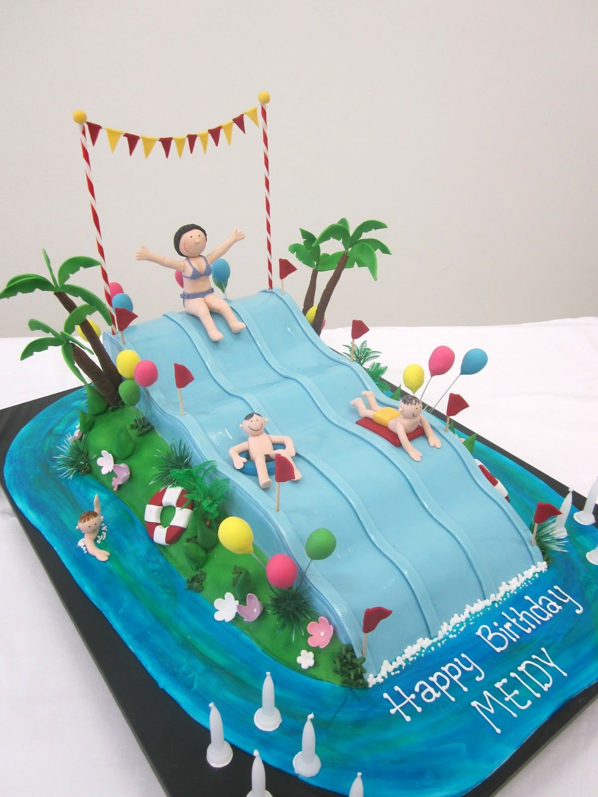 Swimming Slide Cake With Images Pool Cake Pool Birthday Cakes