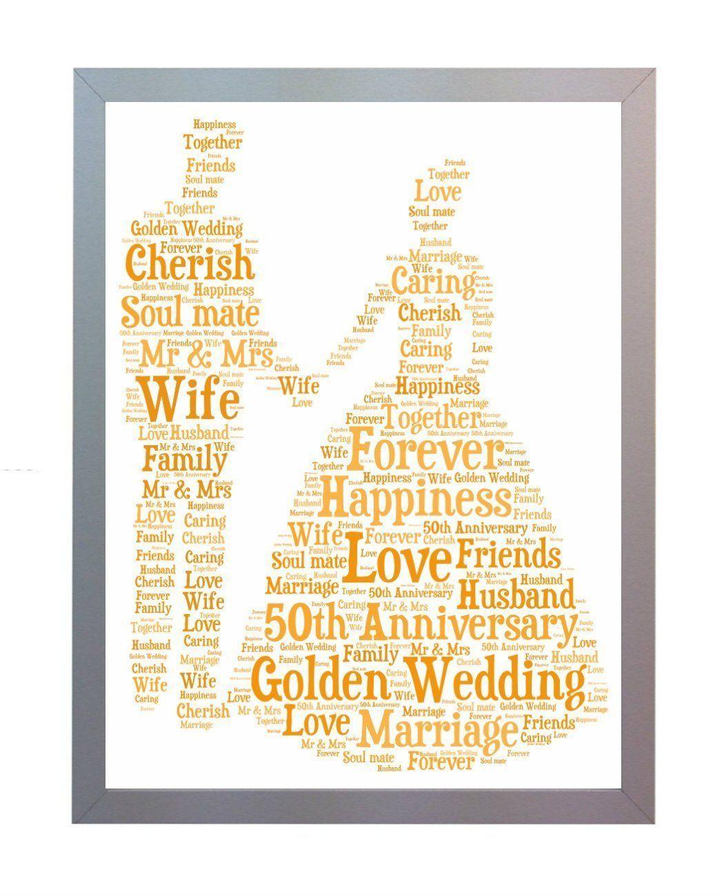 Anniversario Matrimonio In Inglese.Oaktree Gifts Cornice Con Stampa Per Il 50 Anniversario Di