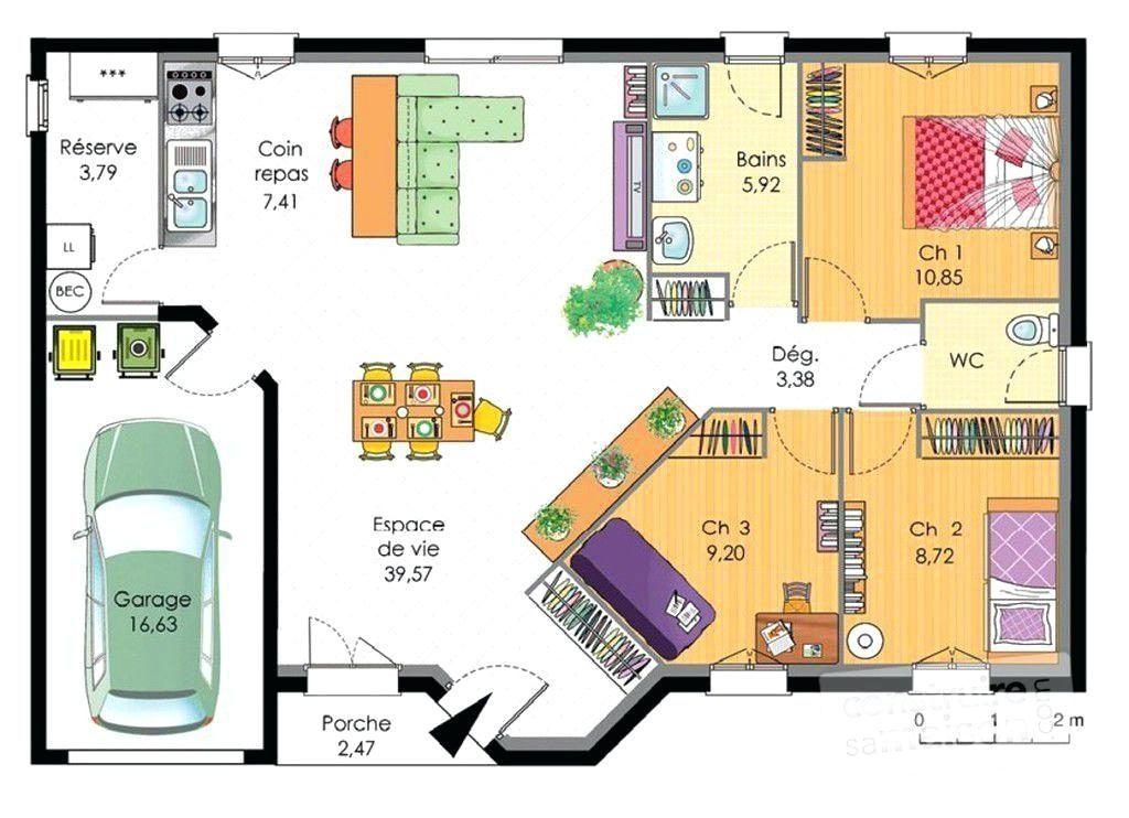 Épinglé sur Plan maison 3 chambres
