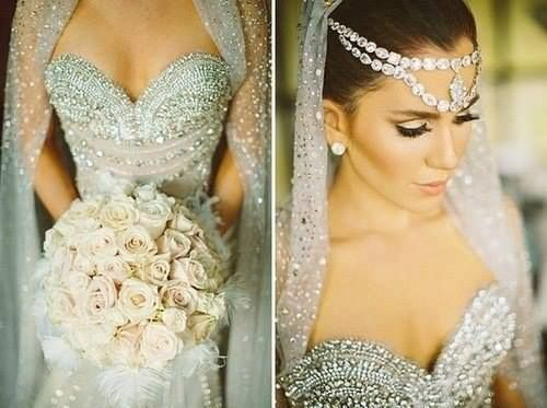 Silver And Sparkly Wedding Dress Formal With Intricate Embroidery Gorgeous