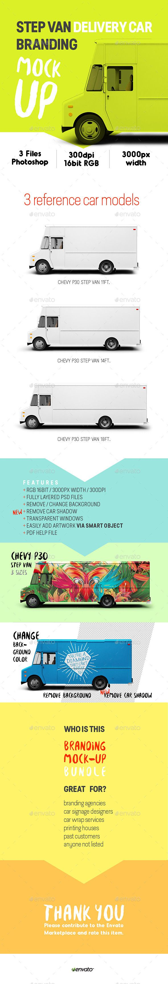 Step Van Delivery Cars Branding Mock UpThis Item Includes 3