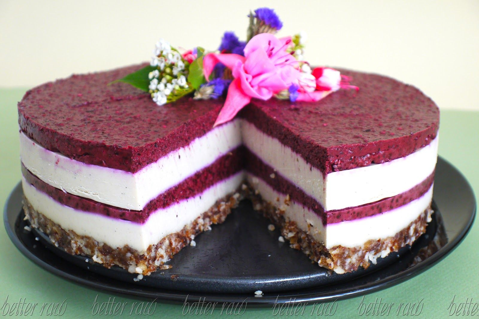 Raw Food Blueberry And Cream Layer Birthday Cake Liver Cleansing