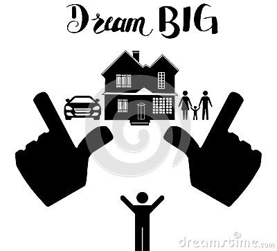 Dream big graphic illustration. Frame between hands the dream of a ...