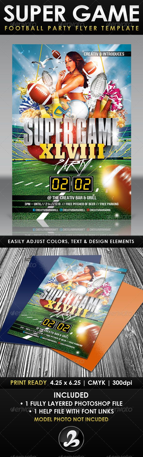 super game football party flyer template updated games football