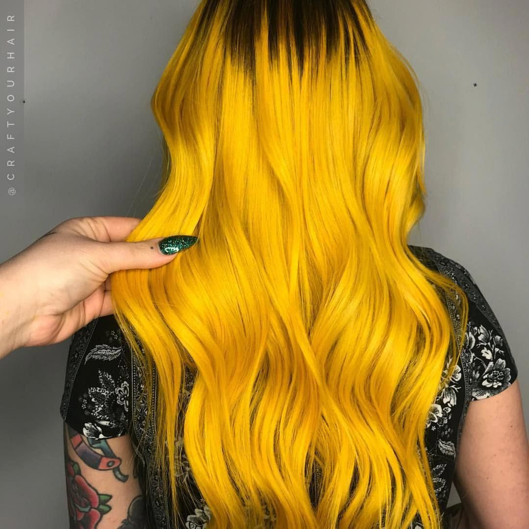 Astonishing Yellow hair dye, Neon hair, Hair styles