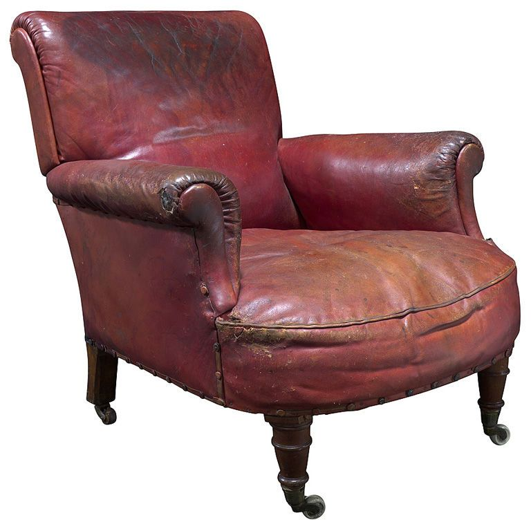 Burgundy Leather Library Chair England Circa 1860 1880 English In Original Porcelain Casters Simple Roll Arm