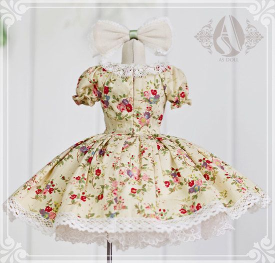 BJD doll's clothes AS doll's dress floral partysu by ToyFamily