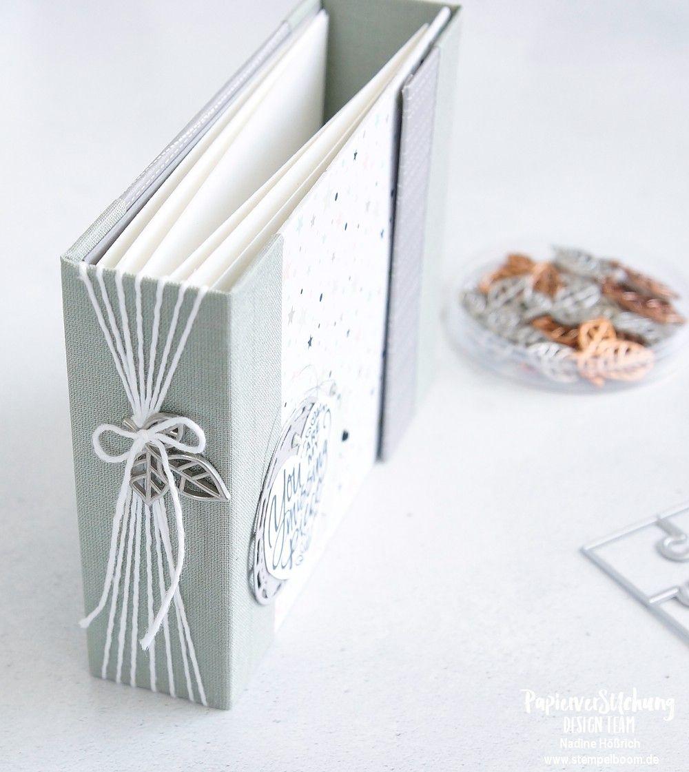 """Zur Geburt – the missing piece   Mini-Album mit dem Designerpapier """"Sternstunden"""" #stempelboom #stampinup #geburt #birth #baby #diy #album #mini #minialbum #binding"""