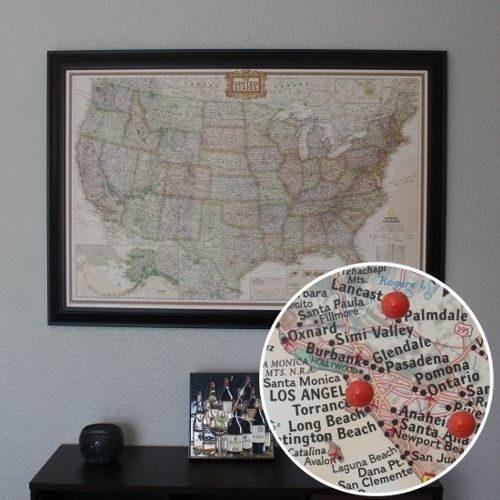 Executive US Travel Map With Pins Travel Maps Wall Ideas And - Large framed us map