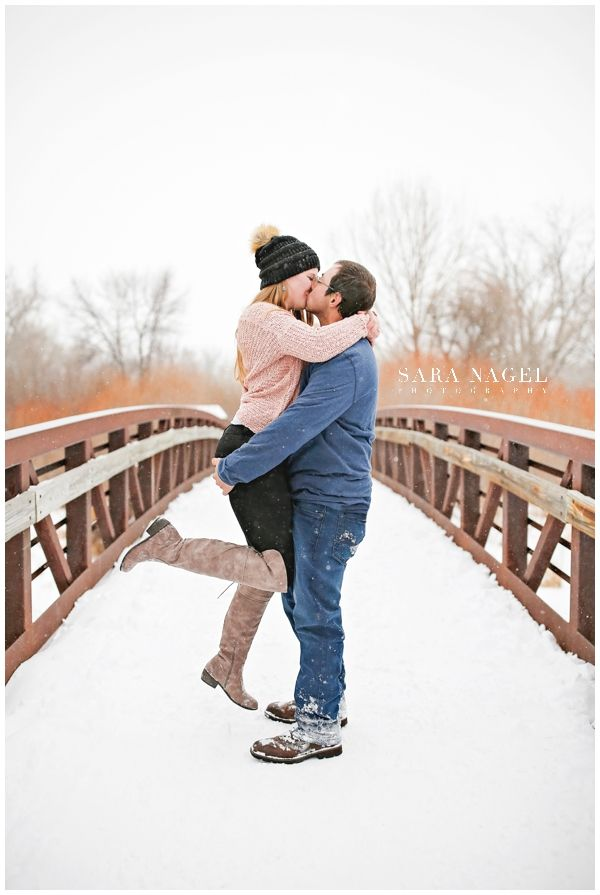 Winter Engagement Session - Snow - Bridge - Kiss ...