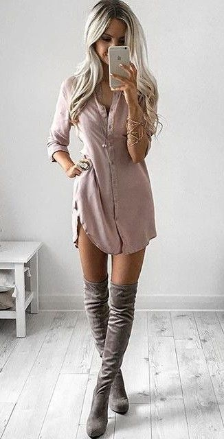 34c0d6bb32f Grey boots and nude shirt dress Over The Knee Boot Outfit Night