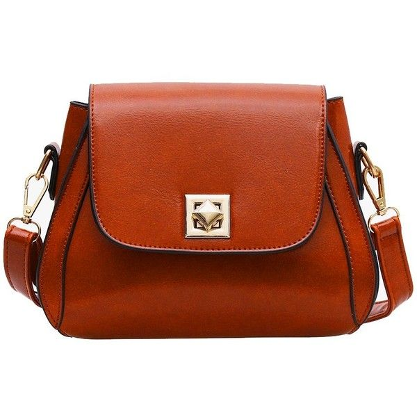 4e910a94c8a Brown PU Leather Lock Small Square Pocket Casual Fashion Shoulder... ( 12)  ❤ liked on Polyvore featuring bags