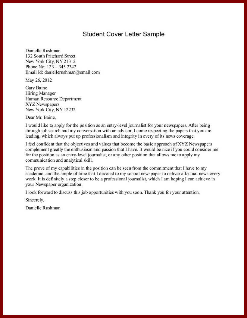 Sample Application Letter For Nursing School Admission Student Cover