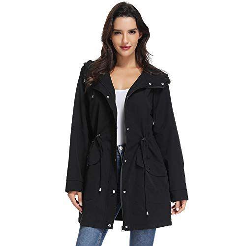 MILEEO Damen Leichte Jacke Trenchcoat mit Kapuze Frhling