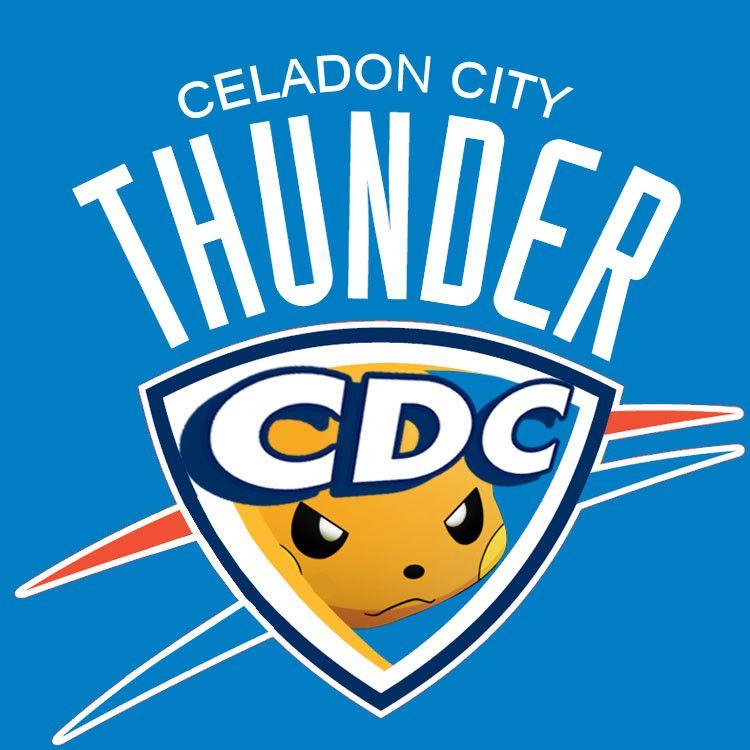 All Nba Logos Redesigned With Pokemon Oklahoma City Thunder Logo