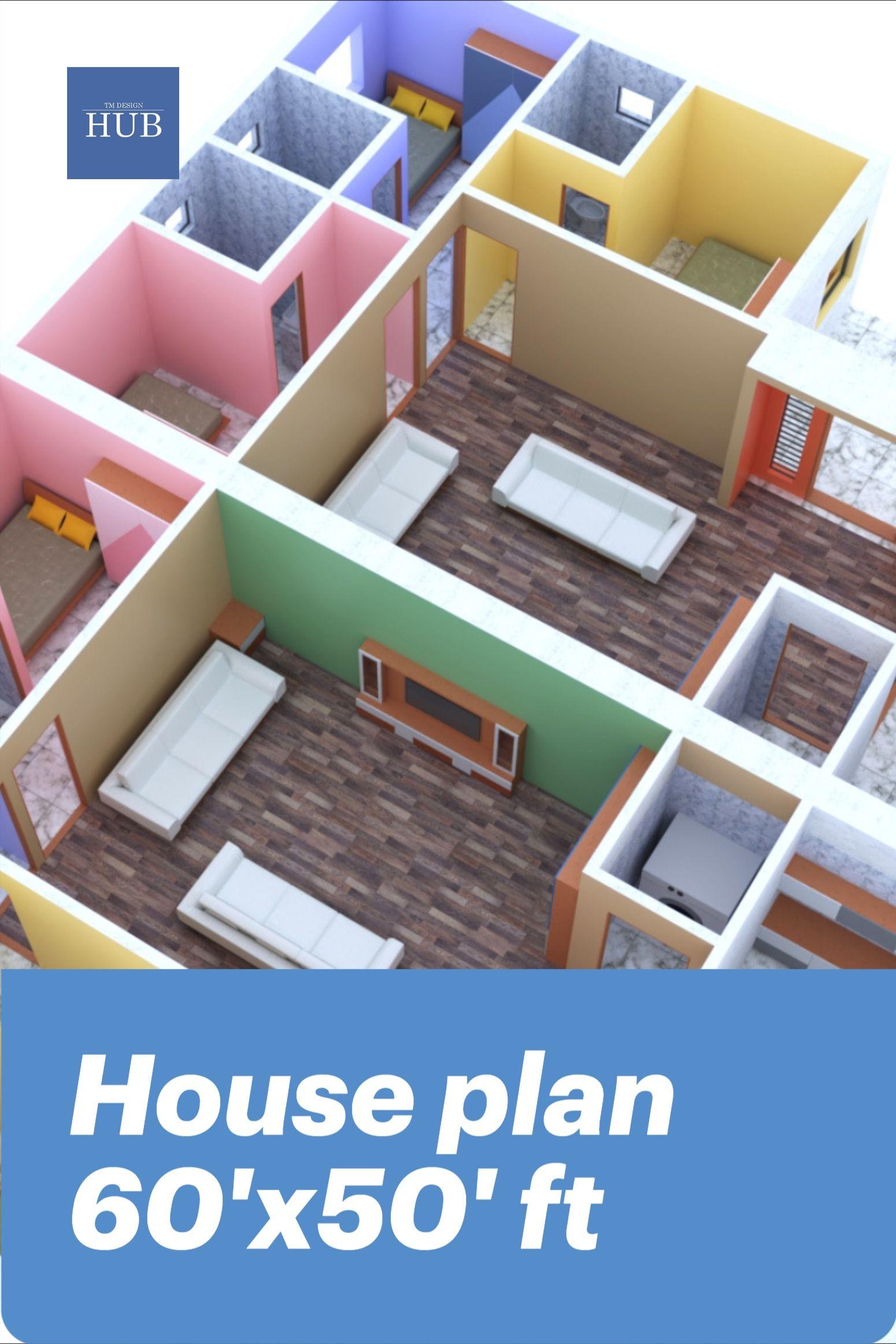 Home Design 60 X50 Ft Plan House Plans House Design Design
