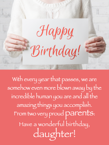 Proud Of You Happy Birthday Card For Daughter From Parents Birthday Greeting Cards By Davia Happy Birthday Wishes Cards Happy Birthday Cards Daughter Birthday Cards