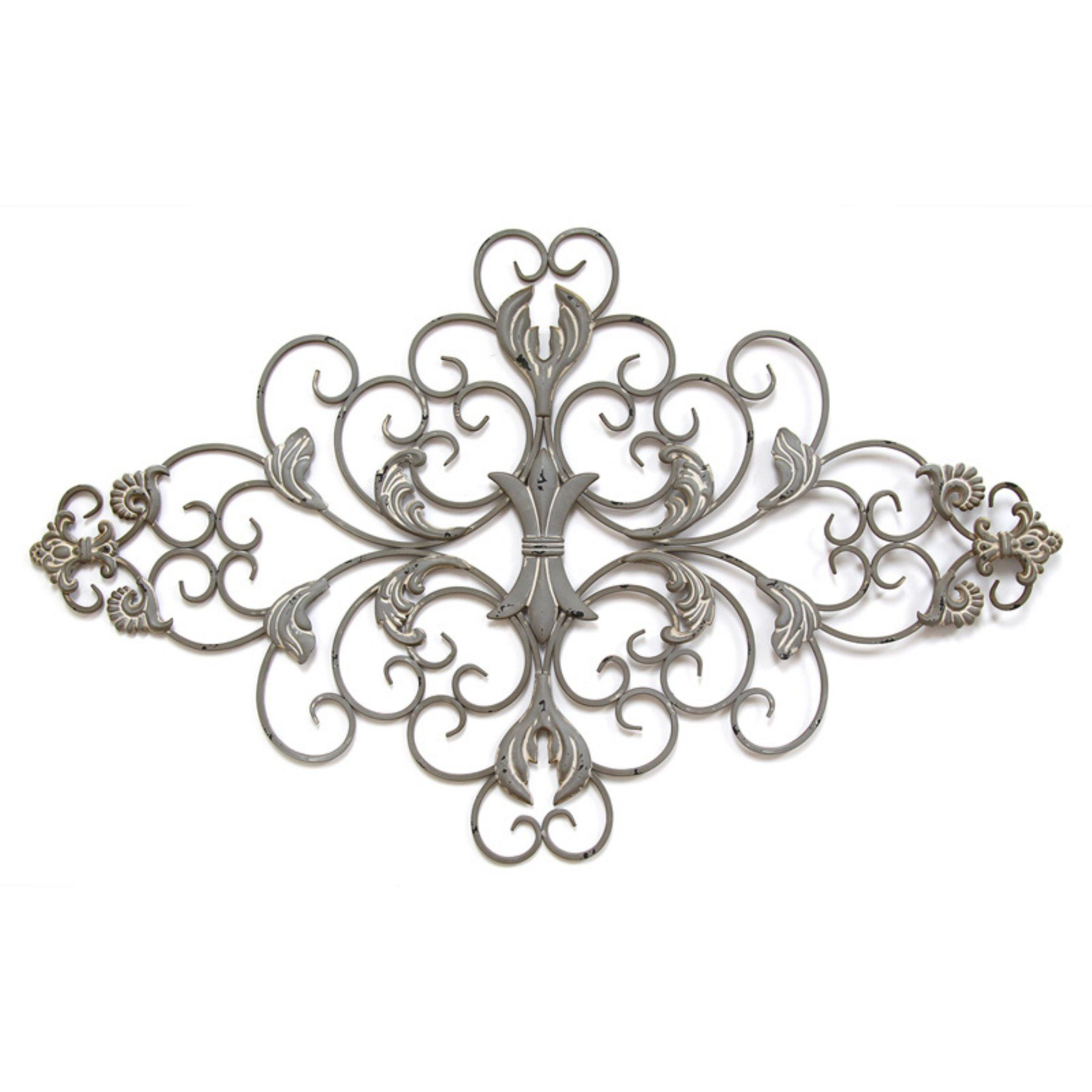 Stratton Home Decor Distressed Gray Scroll Wall Decor  S11567