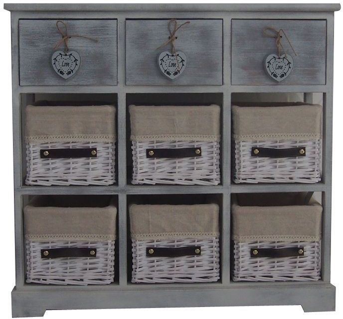 Wood Storage Cabinet Urban Country Style Grey Drawer Wicker Basket