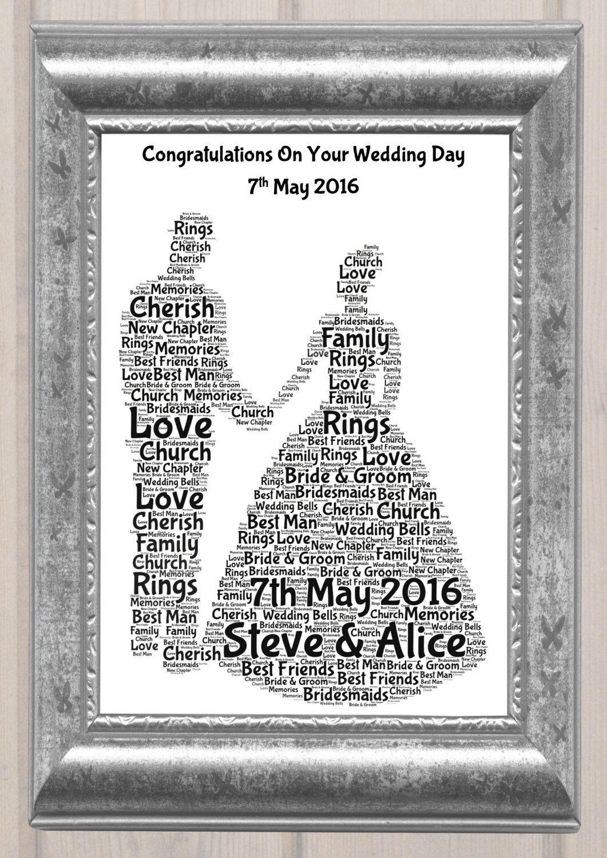 Wedding Couple Personalised Word Art Print A4 Print Wedding Present