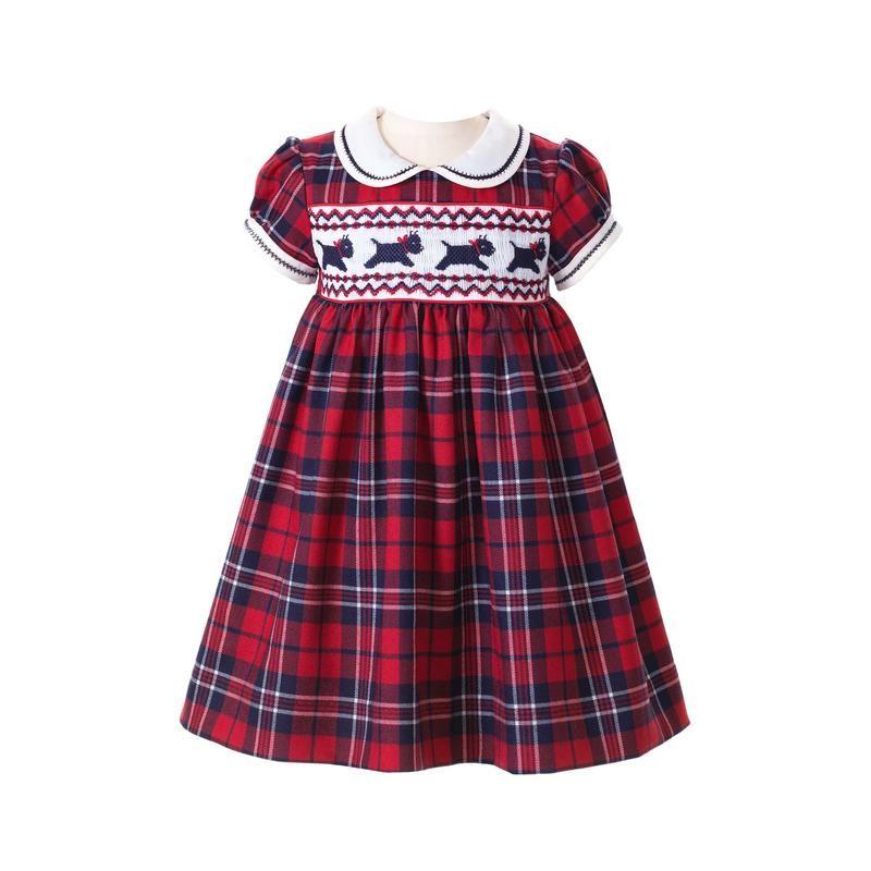Hand Smocked Scottie Tartan Dress
