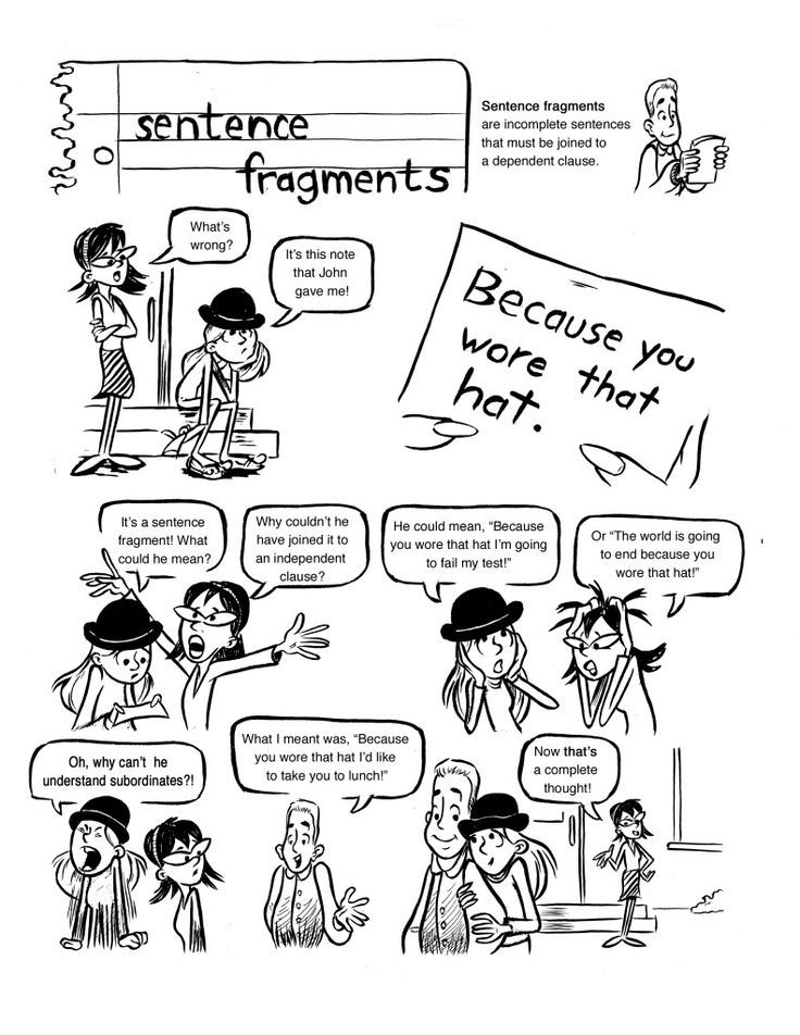 Sentence Fragments-a cartoon to help students identify and