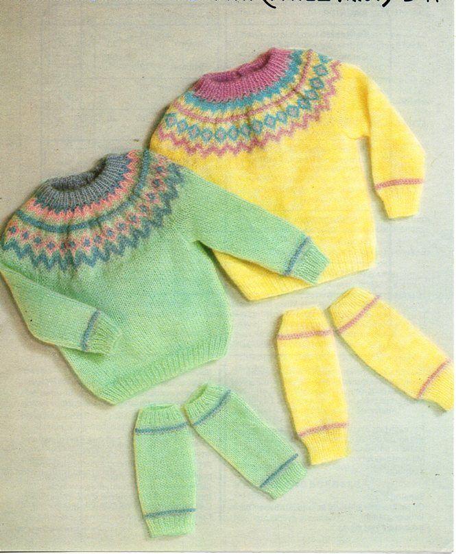 baby fair isle sweater knitting pattern pdf fair isle yoke jumper ...