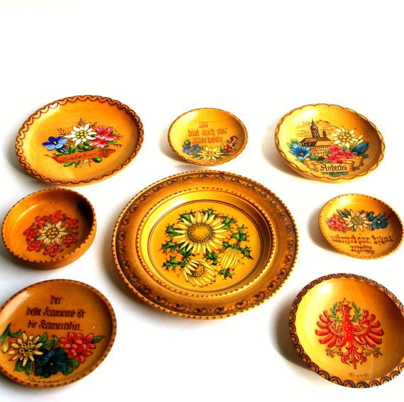 Vintage German Wood Souvenir Plates Hand Painted Wood Burned Flowers ...