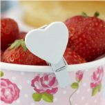 Heart Shaped White Wooden Pegs! #wooden #pegs #heart #white #table #decorations #wedding