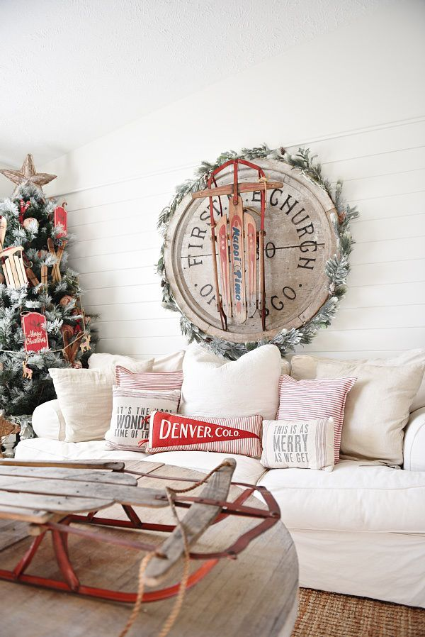 2015 Cottage Style Christmas Living Room   Lovely Rustic Pops Of Red With  Vintage Sleds, Flocked Tree, Skis, U0026 More. Great Pin For Rustic Home Decor  ...