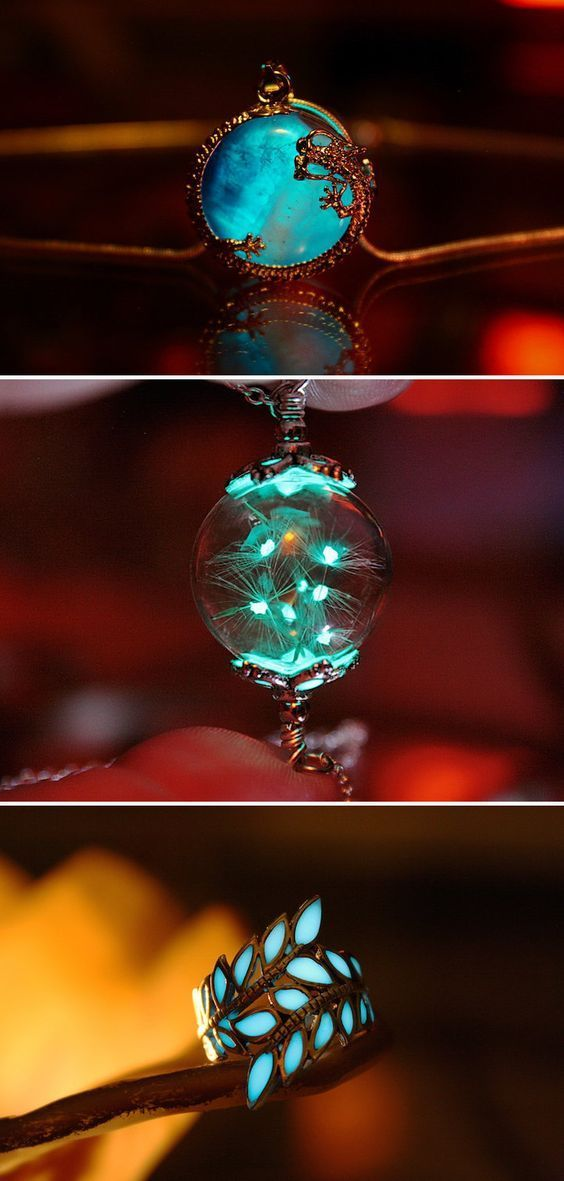 Photo of Mystical glow-in-the-dark jewelry exudes an ethereal turquoise glow