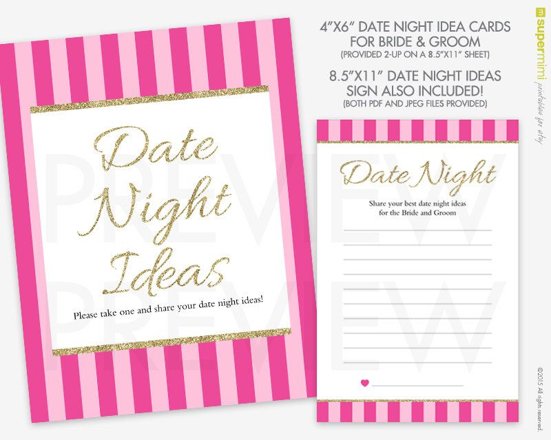Date Night Idea Cards for Bride and Groom in Victorias Secret Pink