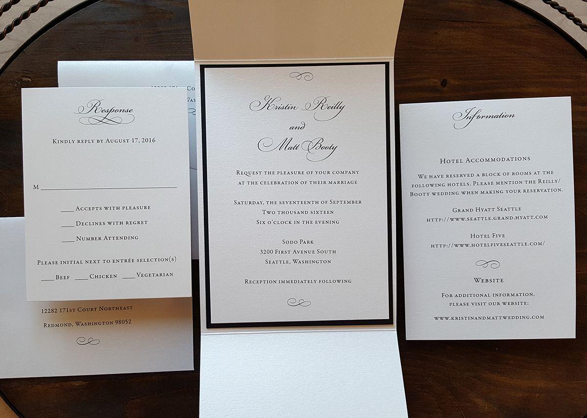 Formal Black and White Pocketfold wedding invitation ...