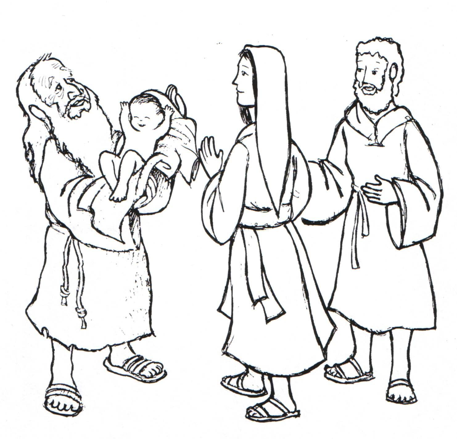 Anna And Simeon Coloring Page