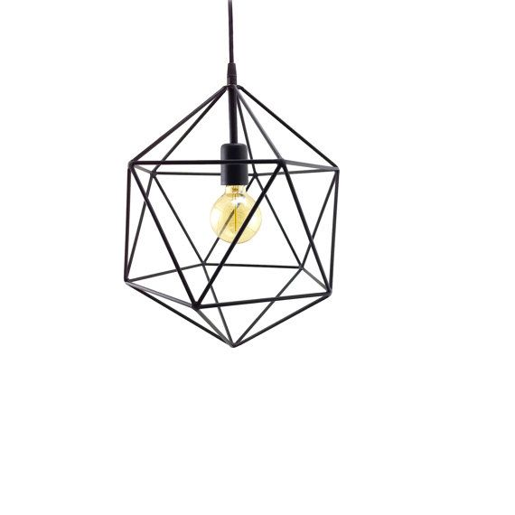 Geometric Pendant Light Handmade Hanging Cage Polyhedron Industrial Lighting Modern Metal Ceiling Lamp Globe