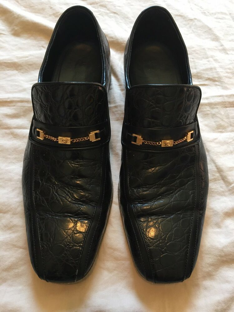 15cd1ada183 Versace Men s Black Croc Print Leather Loafers Slip On Shoes US 10.5 IT  43.5  fashion
