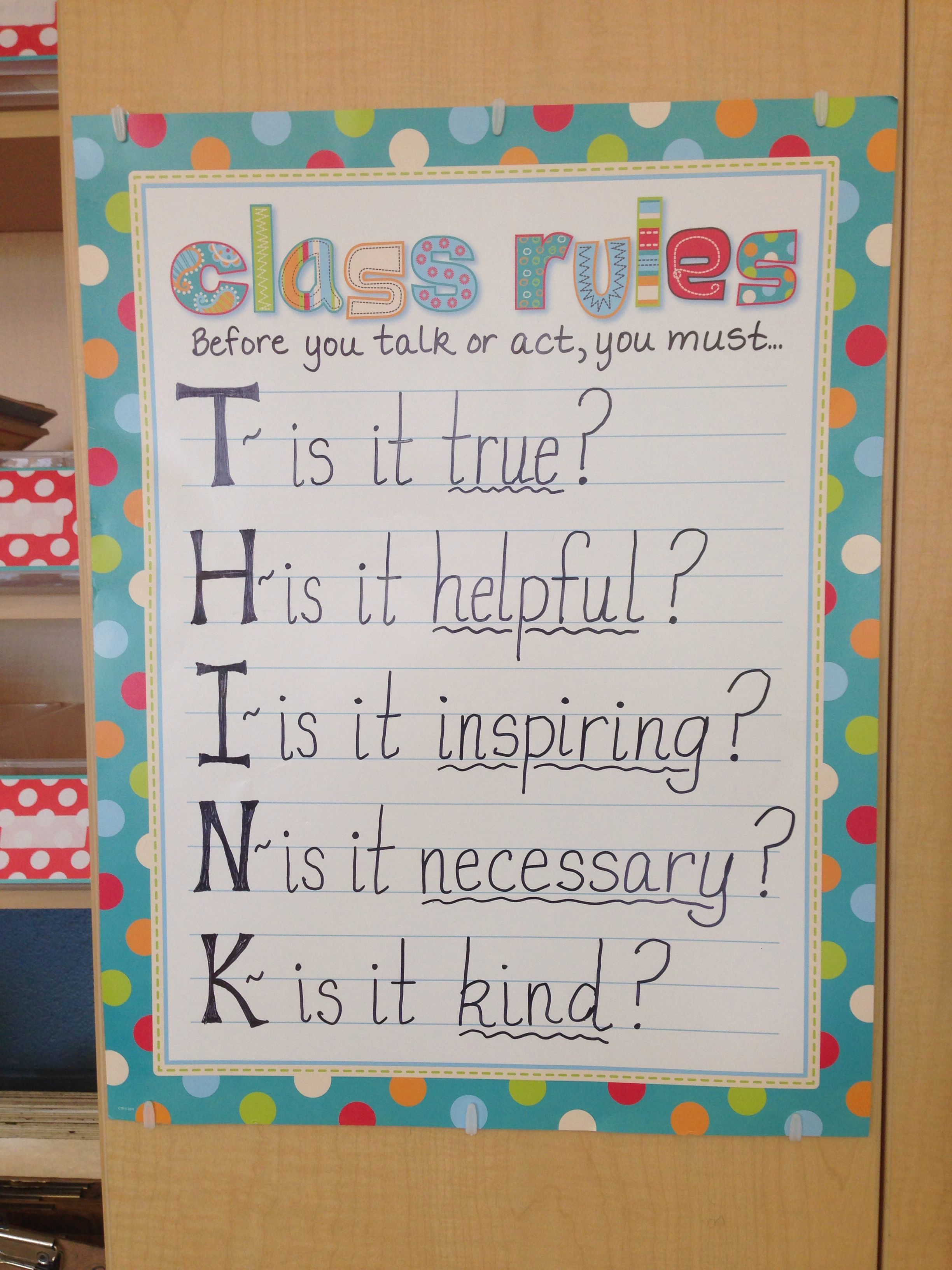 My Classroom Rules Poster For My Theme Think First My