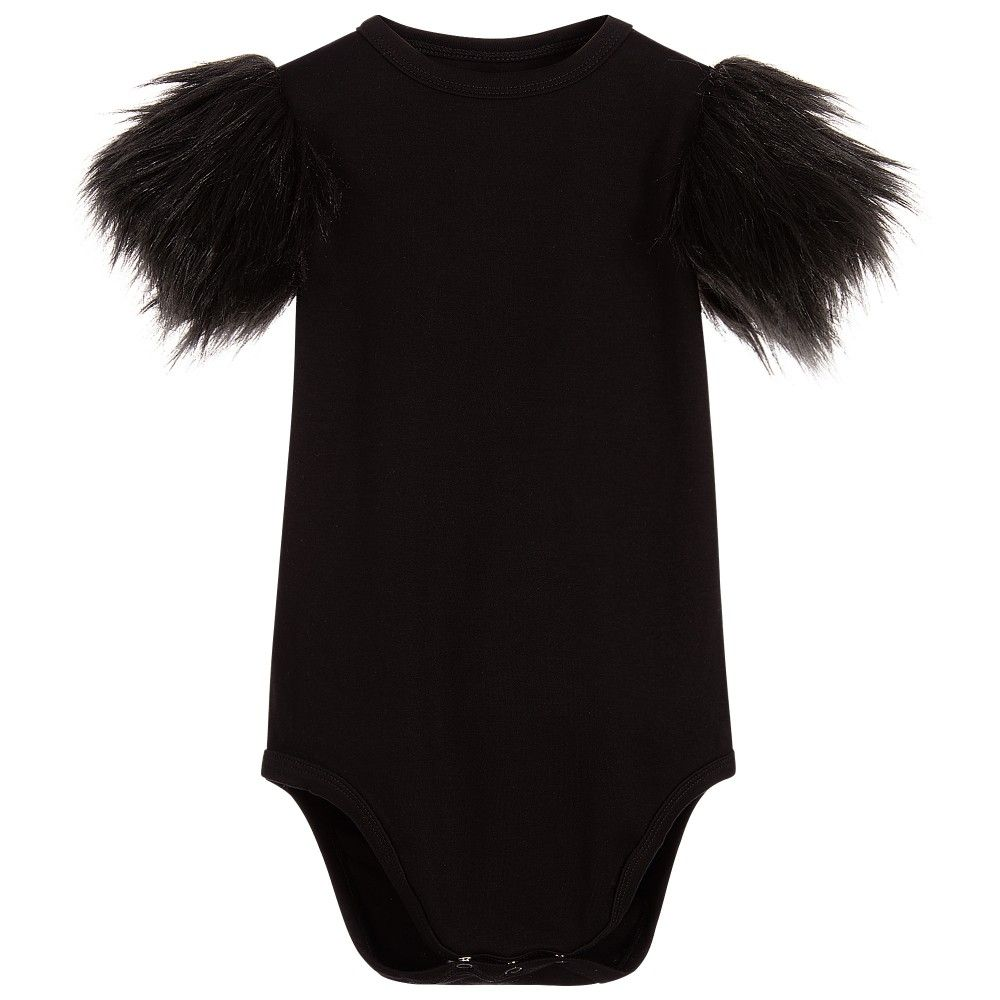 the tiny universe baby girls black bodysuit with fur