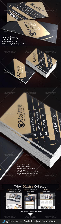 Maitre corporate business card corporate business business cards maitre corporate business card corporate business cards reheart Choice Image
