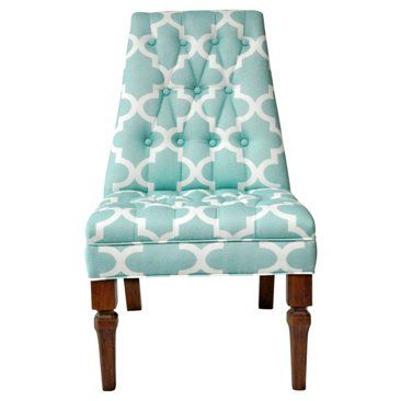 Check out this item at One Kings Lane! Turquoise & White Slipper Chair