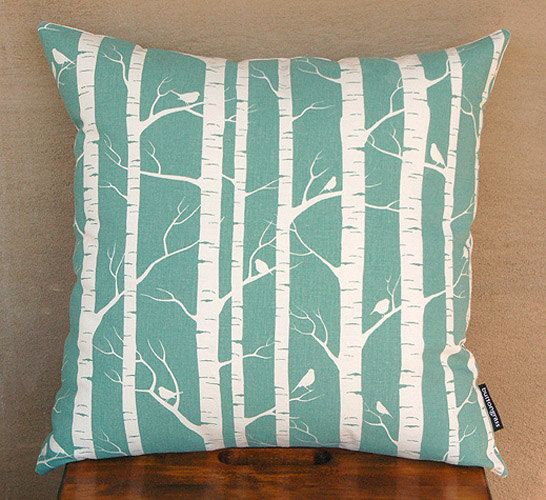 Set Of 2 Handprinted Birch Forest Cushion Covers In Robins
