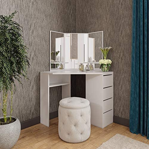 Amazon Com Victory Corner Vanity Table White Makeup Desk With Three Fold Mirrors And 4 Drawers In 2020 Corner Vanity Table Bedroom Dressing Table Makeup Table Vanity