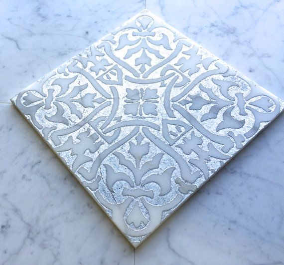 Decorative 12 X 12 Carrara Marble Mural With Hand Etched Design And A Silver Inlay Backsplash Tile Etched Designs Stone Decor 3d Panels